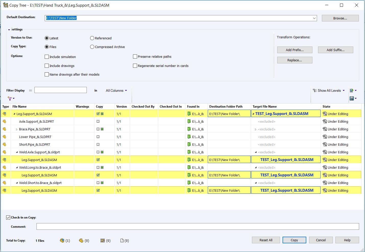 SOLIDWORKS PDM Standard Copy Tree