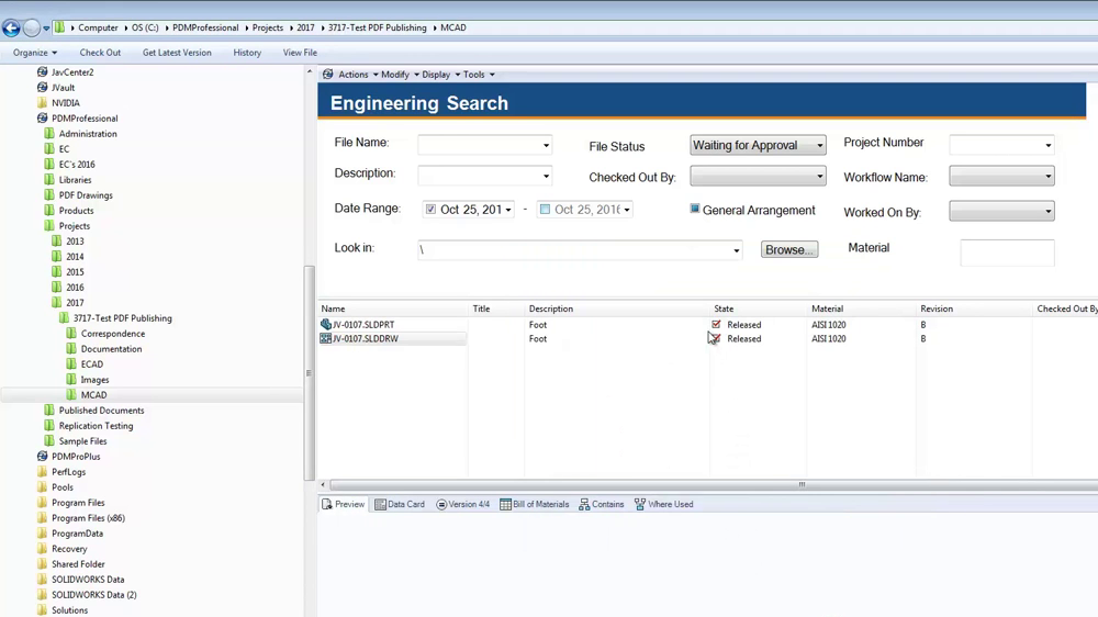 SOLIDWORKS PDM Standard Search